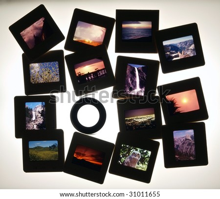 Colorful vintage slides on a light table.  Note all slides were taken by the photographer.