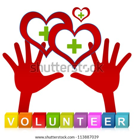 Colorful Volunteer Cube Box And Two Hands Holding Red Heart With Green Cross Inside ...