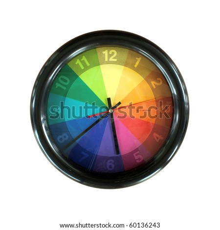 colorful wall clock isolated on white background