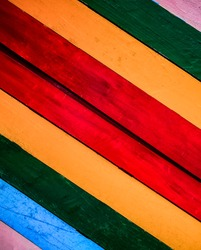 Colorful wall woodentexture background / Rainbow colors painted old wall