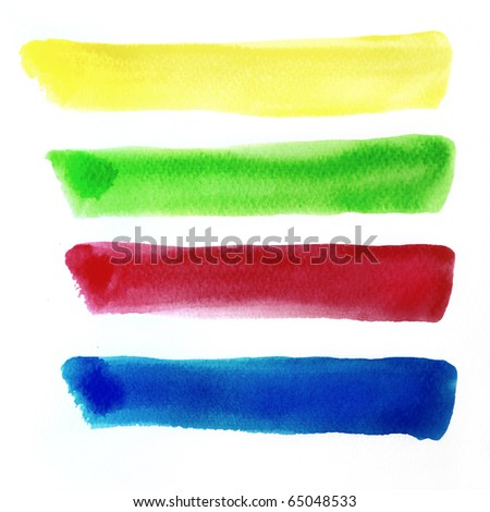 Colorful water color brush strokes