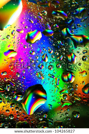 Colorful water drops, iridescent abstract background - stock photo