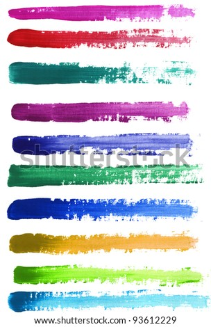 Colorful watercolor hand painted brush strokes. Isolated on white background. - stock photo