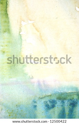 Colorful watercolor painted background with blue green and yellow layers