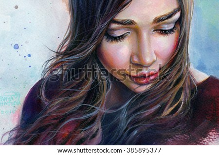 Stock Photo Colorful watercolor painting of a young beautiful girl with long hair looking down sad smiling on the sky background.
