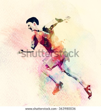 Colorful watercolor painting of man running. Abstract creative sport background, template.