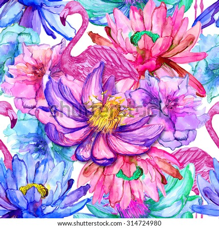 Stock Photo Colorful watercolor pink flamingos, tropical flowers, pink lotus, paradise. Beautiful seamless floral pattern background