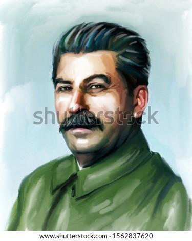 Colorful watercolor portrait of Joseph Stalin Stock photo ©
