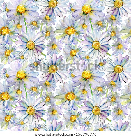 Colorful watercolor seamless pattern with daisy flower