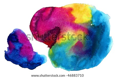 colorful watercolor stains (isolated)