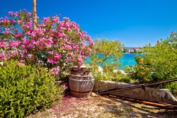 Colorful waterfront of Adriatic island of Krapanj, Sibenik archipelago, Dalmatia region of Croatia