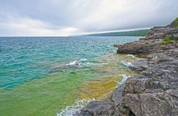 Colorful Waters on the Great Lakes on Lake Huron at Bruce Peninsula National Park in Ontario