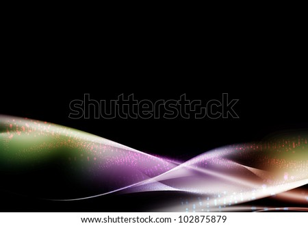 colorful Waves abstract background on dark
