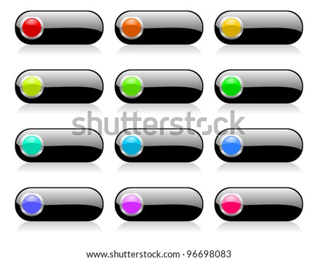 colorful web buttons set with shadows
