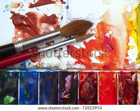 Постер, плакат: Colorful well used artists, холст на подрамнике