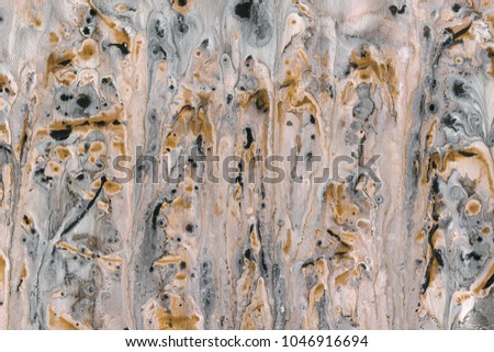 Colorful wet abstract paint leaks and splashes texture on white watercolor paper background. Natural organic shapes and design. #1046916694