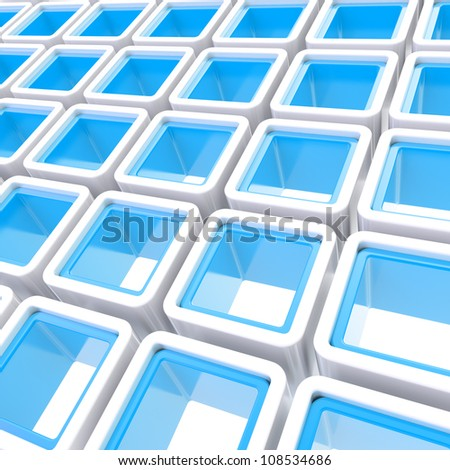 Colorful white and blue glossy cube cell composition as abstract background