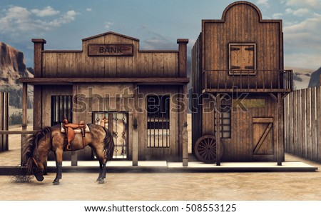 Colorful Wild West scenery with a horse in front of a bank. 3D illustration.