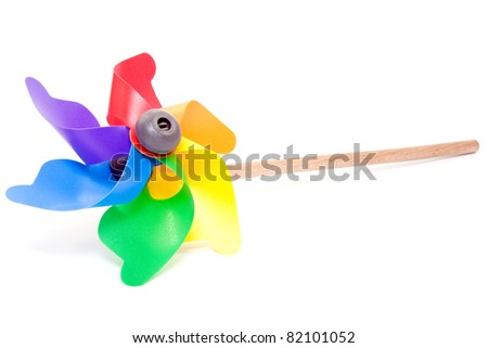 Colorful windmill Isolated on a White background.