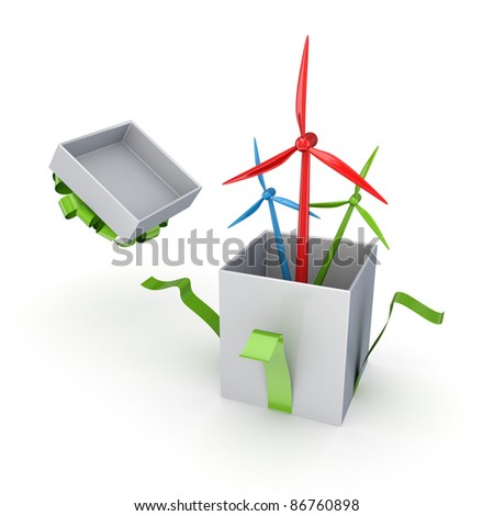 Colorful windmills in a gift box.Isolated on white background.3d rendered.