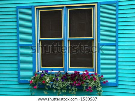 Colorful window in Telluride Colorado