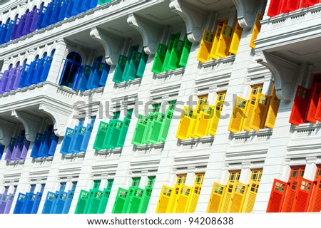 Colorful window shutters  at Clark Quay, Singapore
