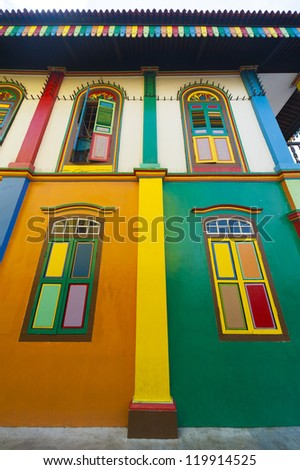 Colorful windows and details on a colonial house in Little India, Singapore