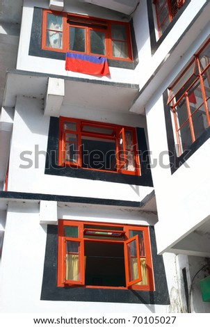 Colorful windows in the indian buddhistic monastery