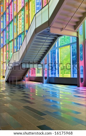 Colorful windows, Reflection and Stairs