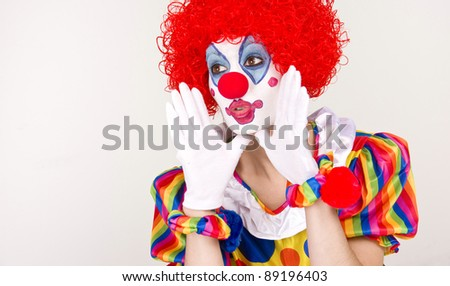 Colorful Woman Circus Clown making an important announcement