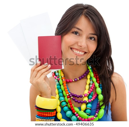 Colorful woman holding her passport isolated over a white background
