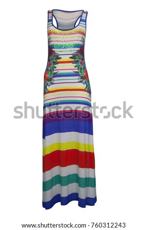 Shutterstock Colorful women's sleeveless dress with floral prints, isolated