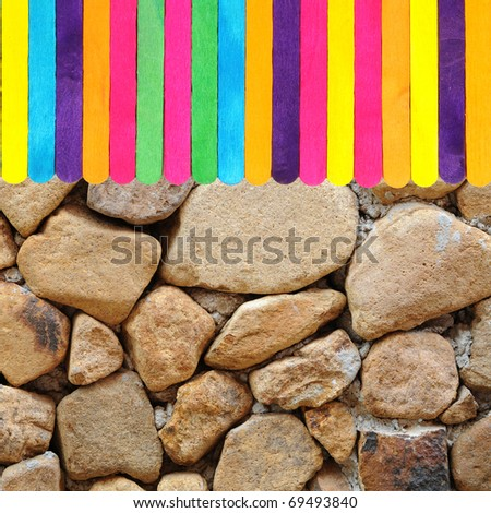 colorful wood ice-cream stick and rock texture