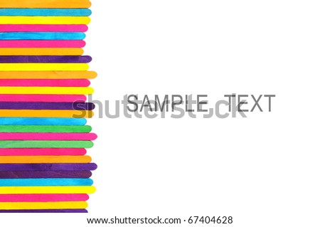 colorful wood ice-cream stick isolated on white background