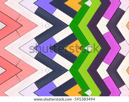 Colorful wood texture with modern geometric seamless pattern. Geometric abstract background. #595383494