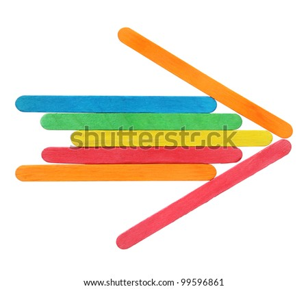 Colorful wooden arrows sign isolated on white with clipping path
