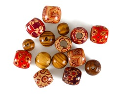 colorful wooden beads isolated on white background