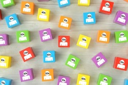 Colorful wooden blocks with human pictogram of various generation