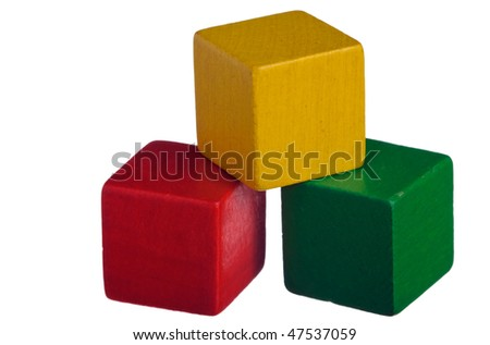 Colorful wooden children's building blocks isolated on white background