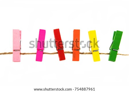 colorful wooden clothespin isolated on white background