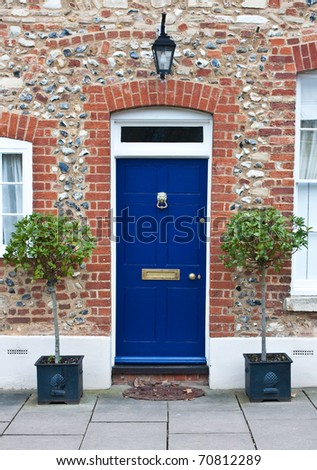 Colorful wooden front door