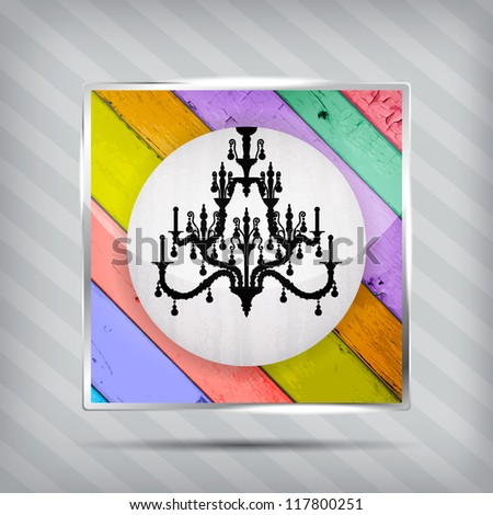 colorful wooden pattern icon with silhouette of chandelier on the striped background
