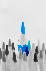 Colorful wooden pencils. Selective depth of field