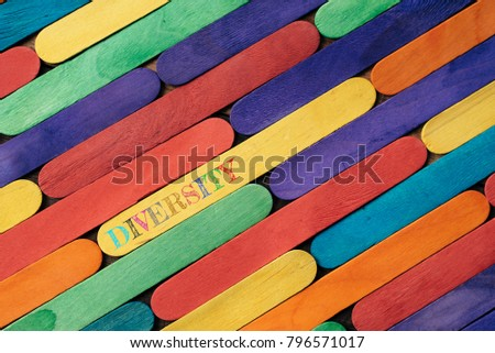 Colorful wooden stick with DIVERSITY word. diversity concept #796571017