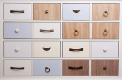 Colorful wooden textured drawers dresser