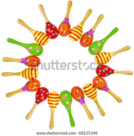 colorful wooden toy maracas frame music percussion instrument isolated on white background