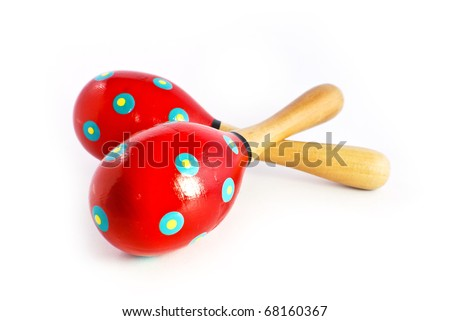 colorful wooden toy maracas music percussion instrument isolated on white background