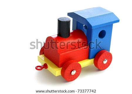 colorful wooden toy train isolated in white