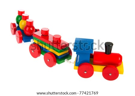 Colorful wooden toy train isolated over white