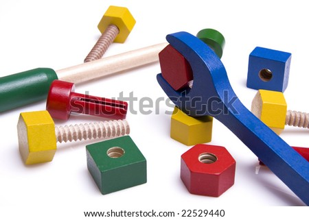 Colorful wooden toys isolated on white background - Selective focus